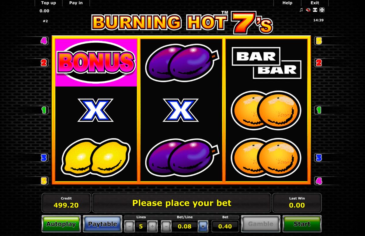 burning hot sevens novomatic slot