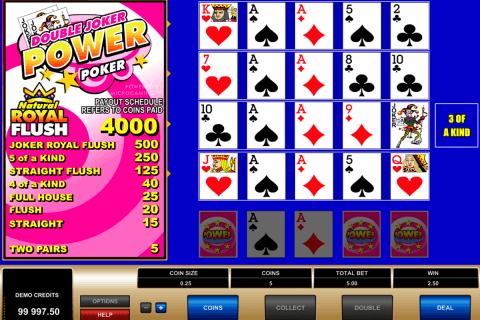 double joker  play power poker microgaming