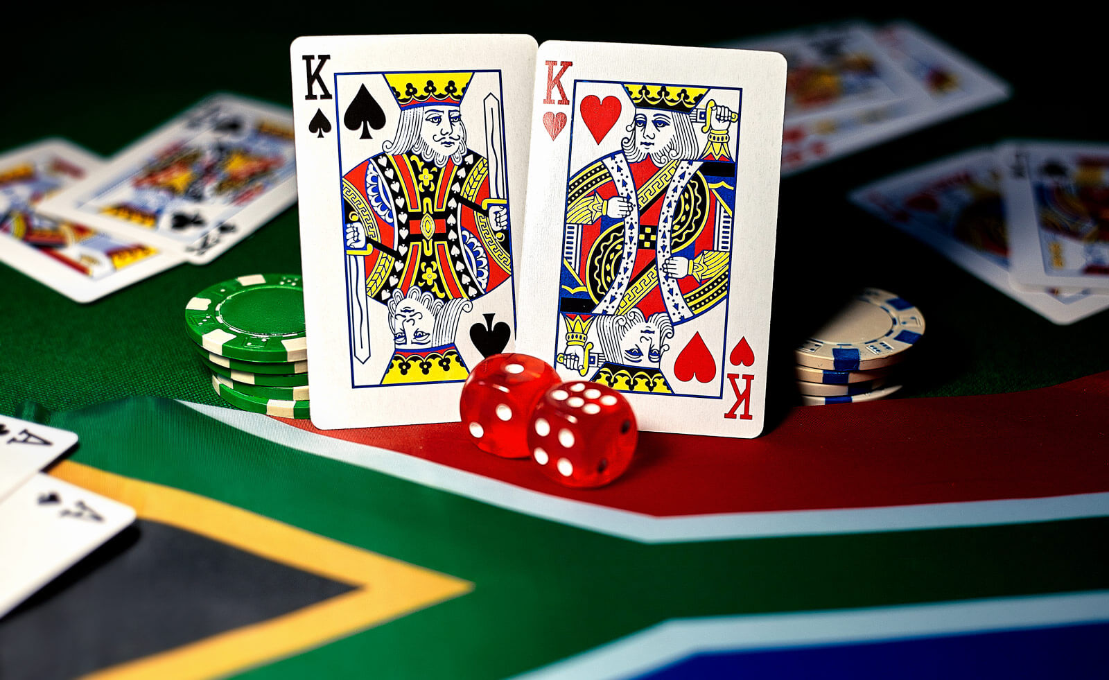 Casino Game Poker Chips Dices Cards Gambling South African Flag
