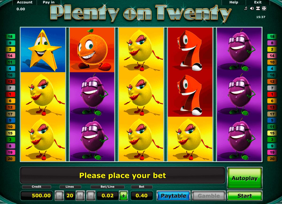 plenty on twenty novomatic slot