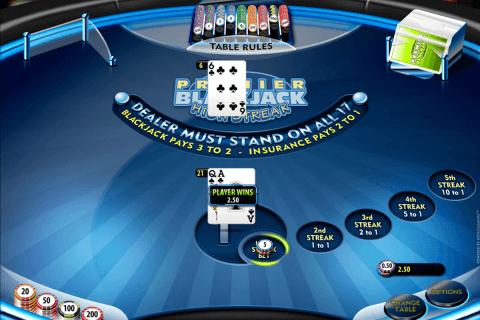 premier high streak blackjack microgaming online