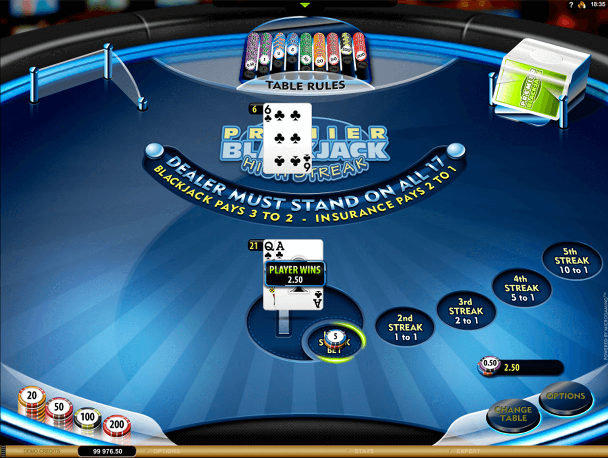 premier high streak blackjack microgaming online