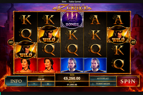 the mask of zorro playtech slot