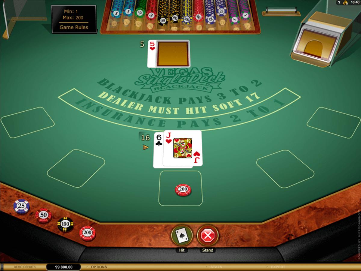 vegas single deck blackjack gold series microgaming online