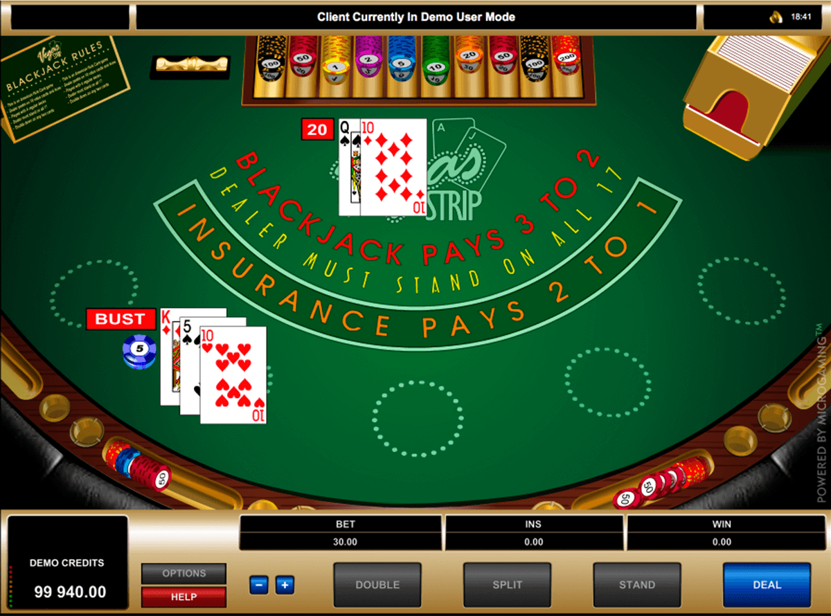 vegas strip blackjack microgaming online